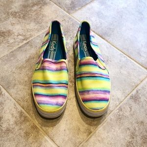 Keds multicolored striped canvas flats size 7